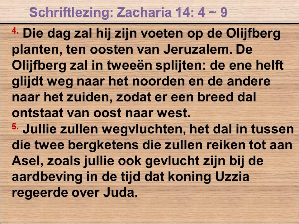 4. Die dag zal hij zijn voeten op de Olijfberg planten, ten oosten van Jeruzalem. De Olijfberg zal in tweeën splijten: de ene helft glijdt weg naar he