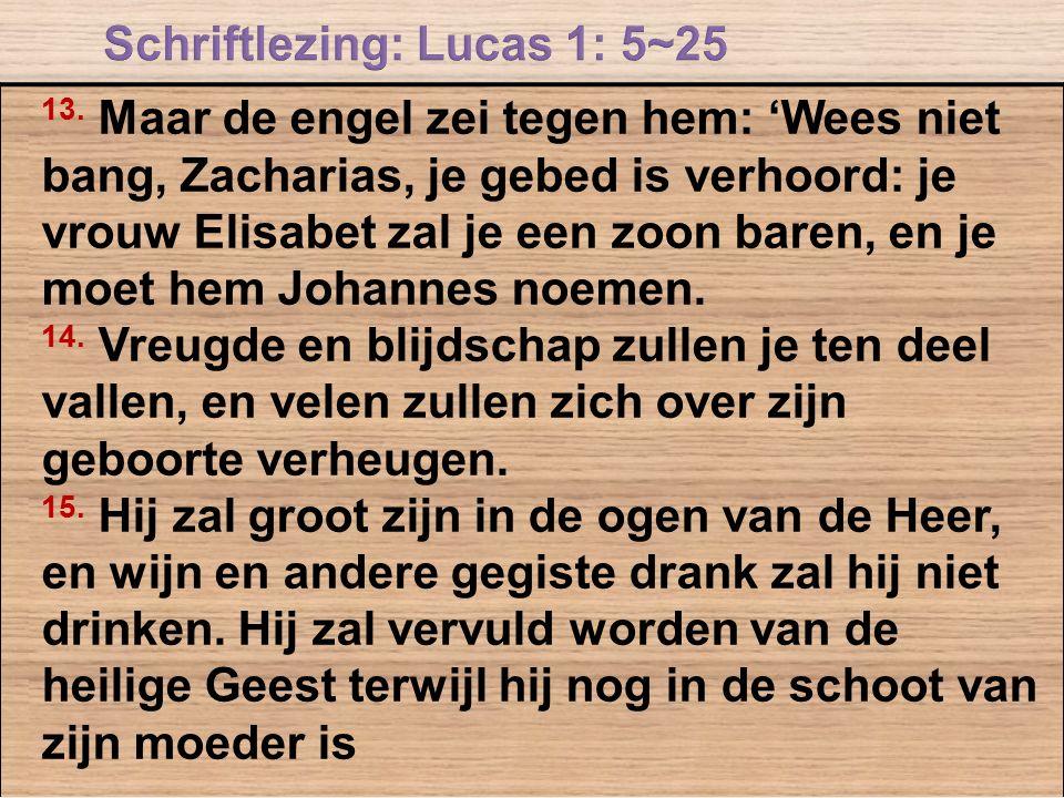 13. Maar de engel zei tegen hem: 'Wees niet bang, Zacharias, je gebed is verhoord: je vrouw Elisabet zal je een zoon baren, en je moet hem Johannes no