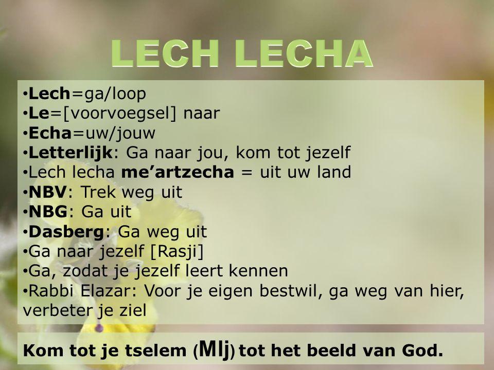 Lech=ga/loop Le=[voorvoegsel] naar Echa=uw/jouw Letterlijk: Ga naar jou, kom tot jezelf Lech lecha me'artzecha = uit uw land NBV: Trek weg uit NBG: Ga uit Dasberg: Ga weg uit Ga naar jezelf [Rasji] Ga, zodat je jezelf leert kennen Rabbi Elazar: Voor je eigen bestwil, ga weg van hier, verbeter je ziel Kom tot je tselem ( Mlj ) tot het beeld van God.