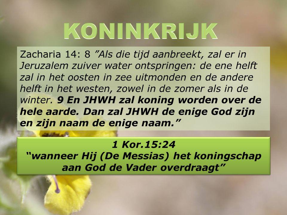 Zacharia 14: 8 Als die tijd aanbreekt, zal er in Jeruzalem zuiver water ontspringen: de ene helft zal in het oosten in zee uitmonden en de andere helft in het westen, zowel in de zomer als in de winter.