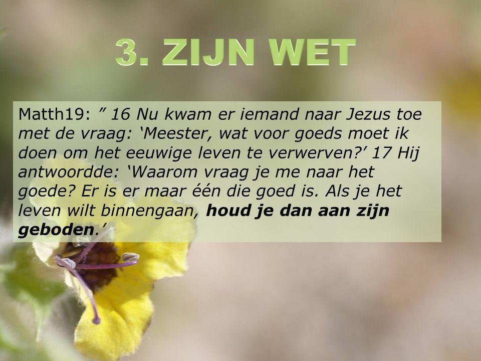 Matth19: 16 Nu kwam er iemand naar Jezus toe met de vraag: 'Meester, wat voor goeds moet ik doen om het eeuwige leven te verwerven ' 17 Hij antwoordde: 'Waarom vraag je me naar het goede.