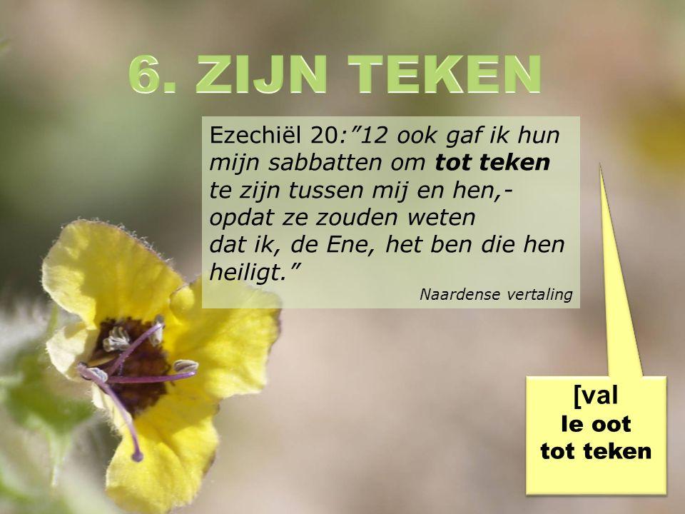 Ezechiël 20: 12 ook gaf ik hun mijn sabbatten om tot teken te zijn tussen mij en hen,- opdat ze zouden weten dat ik, de Ene, het ben die hen heiligt. Naardense vertaling [val le oot tot teken [val le oot tot teken