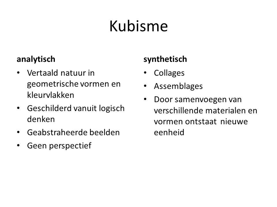 Kubisme analytisch Vertaald natuur in geometrische vormen en kleurvlakken Geschilderd vanuit logisch denken Geabstraheerde beelden Geen perspectief sy