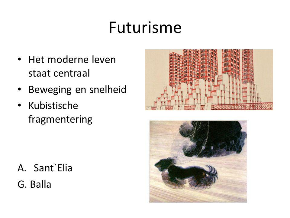 Futurisme Het moderne leven staat centraal Beweging en snelheid Kubistische fragmentering A.Sant`Elia G. Balla