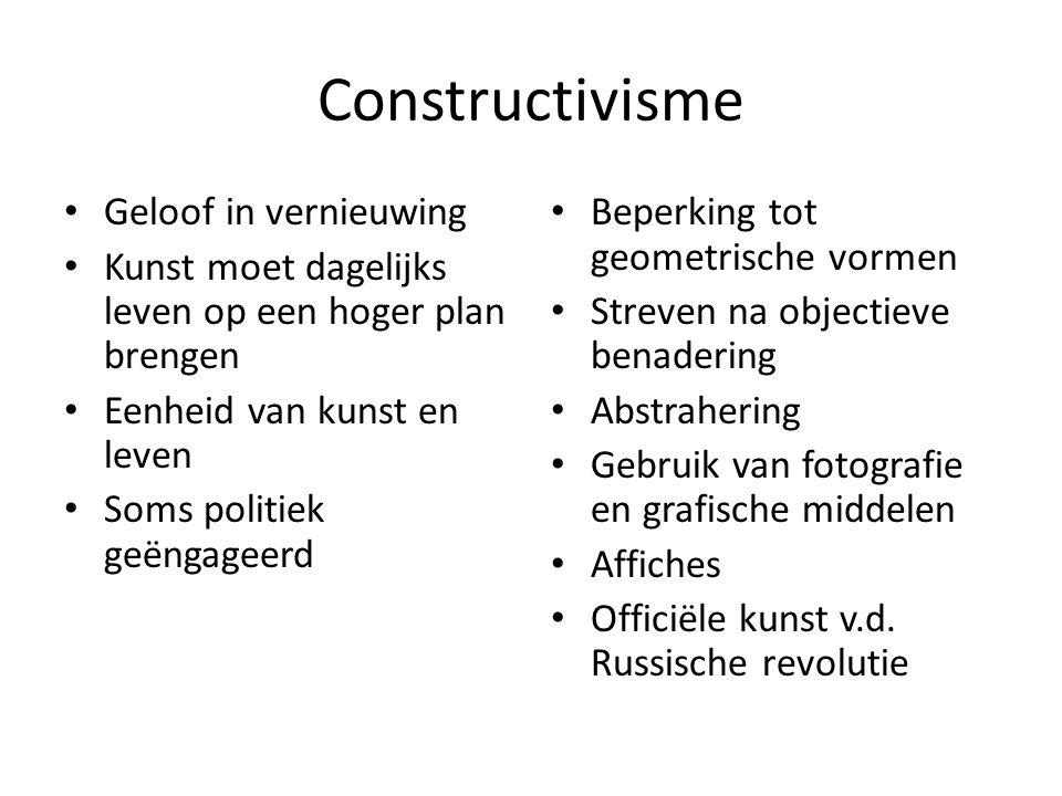 Voorbeelden Constructivisme E. Lissitzky, V. Tatlin