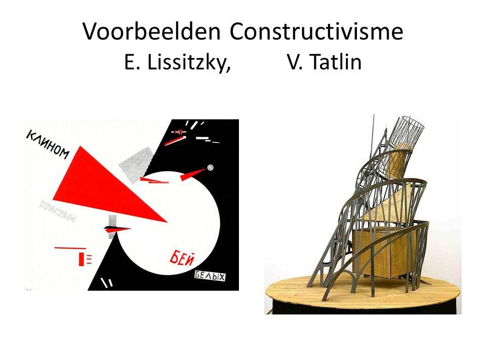 De Stijl Kunstenaars zoeken universele uitbeeldingsvorm Geen plaats voor gevoel en decoratie Architectuur, beeldende kunst moeten deel uitmaken van het leven van de moderne mens Gebruik van primaire kleuren Horizontale en verticale lijnen Geen voorstelling Functionele architectuur en gebruiksvoorwerpen