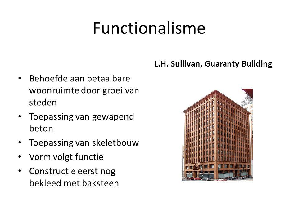Functionalisme Behoefde aan betaalbare woonruimte door groei van steden Toepassing van gewapend beton Toepassing van skeletbouw Vorm volgt functie Con