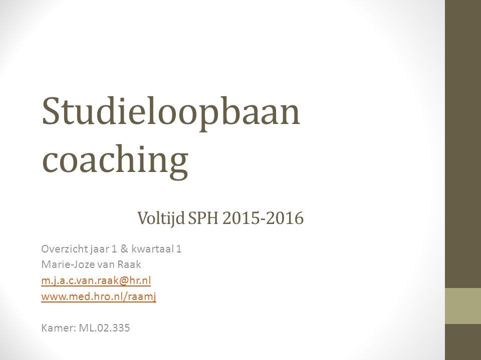 Studieloopbaan coaching Voltijd SPH 2015-2016 Overzicht jaar 1 & kwartaal 1 Marie-Joze van Raak m.j.a.c.van.raak@hr.nl www.med.hro.nl/raamj Kamer: ML.