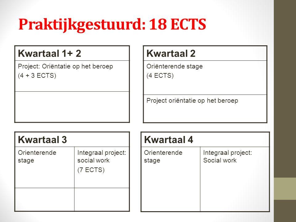 Praktijkgestuurd: 18 ECTS Kwartaal 1+ 2 Project: Oriëntatie op het beroep (4 + 3 ECTS) Kwartaal 2 Oriënterende stage (4 ECTS) Project oriëntatie op het beroep Kwartaal 3 Orienterende stage Integraal project: social work (7 ECTS) Kwartaal 4 Orienterende stage Integraal project: Social work