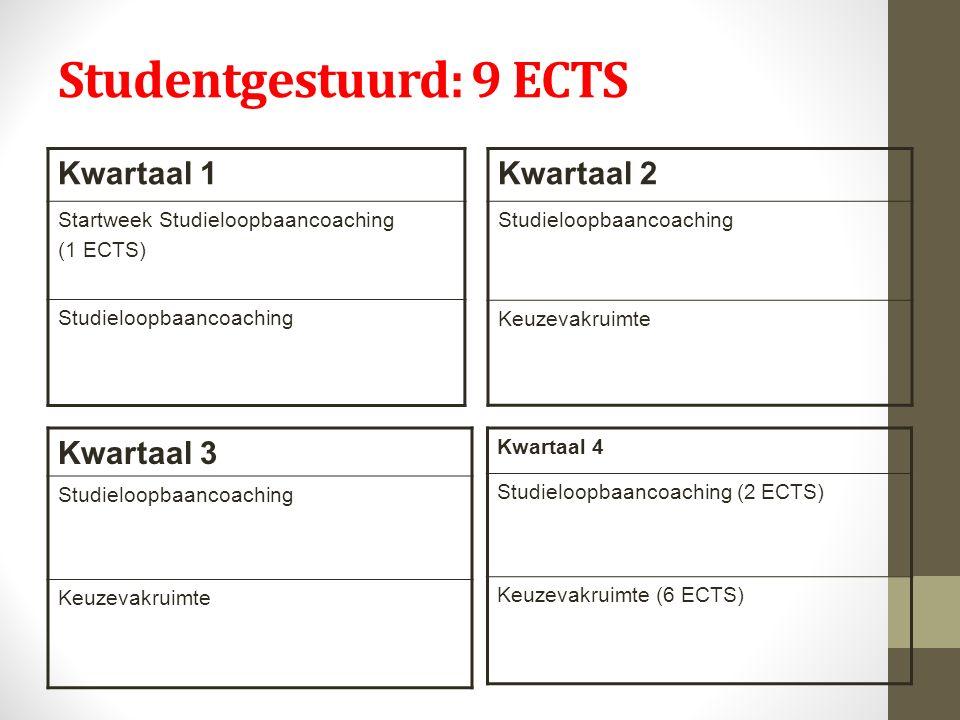 Studentgestuurd: 9 ECTS Kwartaal 1 Startweek Studieloopbaancoaching (1 ECTS) Studieloopbaancoaching Kwartaal 2 Studieloopbaancoaching Keuzevakruimte Kwartaal 3 Studieloopbaancoaching Keuzevakruimte Kwartaal 4 Studieloopbaancoaching (2 ECTS) Keuzevakruimte (6 ECTS)