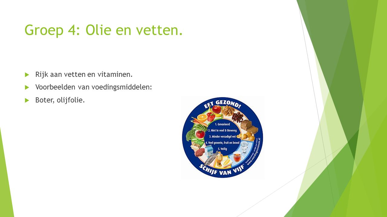 Groep 4: Olie en vetten.  Rijk aan vetten en vitaminen.