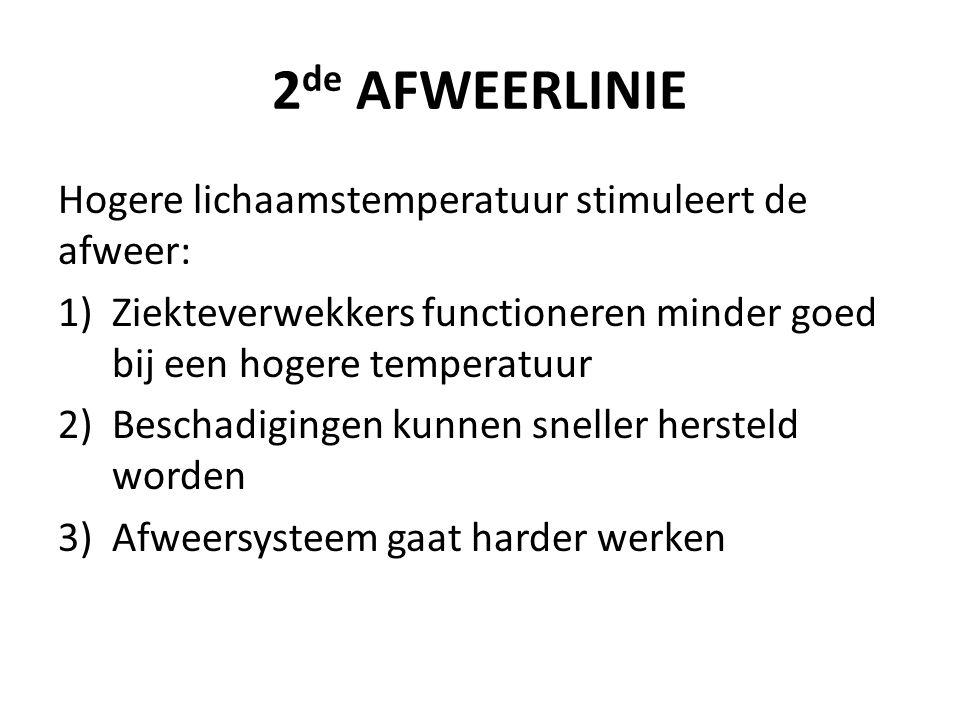 2 de AFWEERLINIE Hogere lichaamstemperatuur stimuleert de afweer: 1)Ziekteverwekkers functioneren minder goed bij een hogere temperatuur 2)Beschadigingen kunnen sneller hersteld worden 3)Afweersysteem gaat harder werken