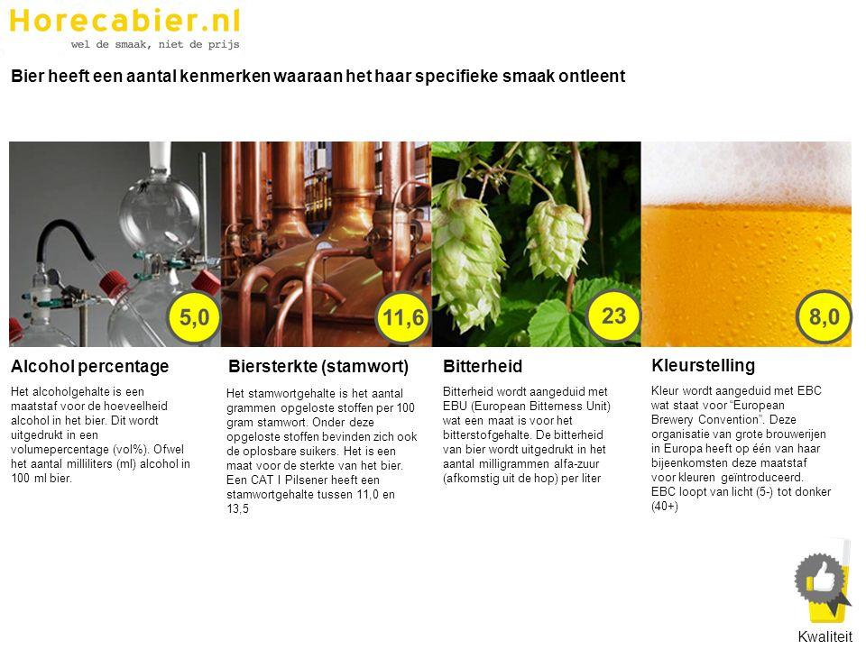 Bier heeft een aantal kenmerken waaraan het haar specifieke smaak ontleent Bitterheid Bitterheid wordt aangeduid met EBU (European Bitterness Unit) wa