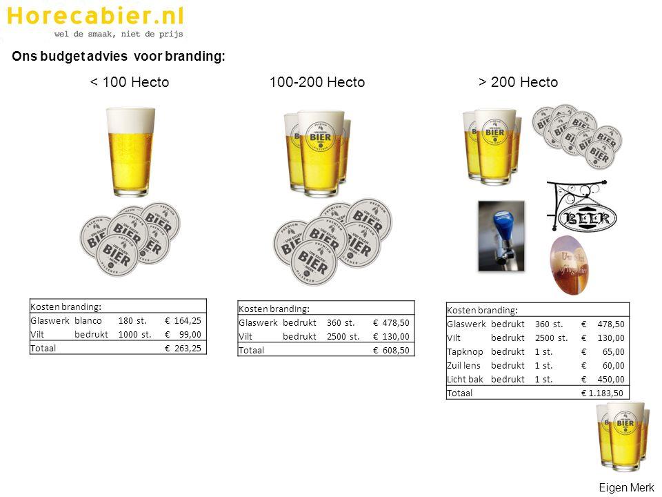 < 100 Hecto100-200 Hecto> 200 Hecto Ons budget advies voor branding: Kosten branding: Glaswerkbedrukt360 st. € 478,50 Viltbedrukt2500 st. € 130,00 Tap
