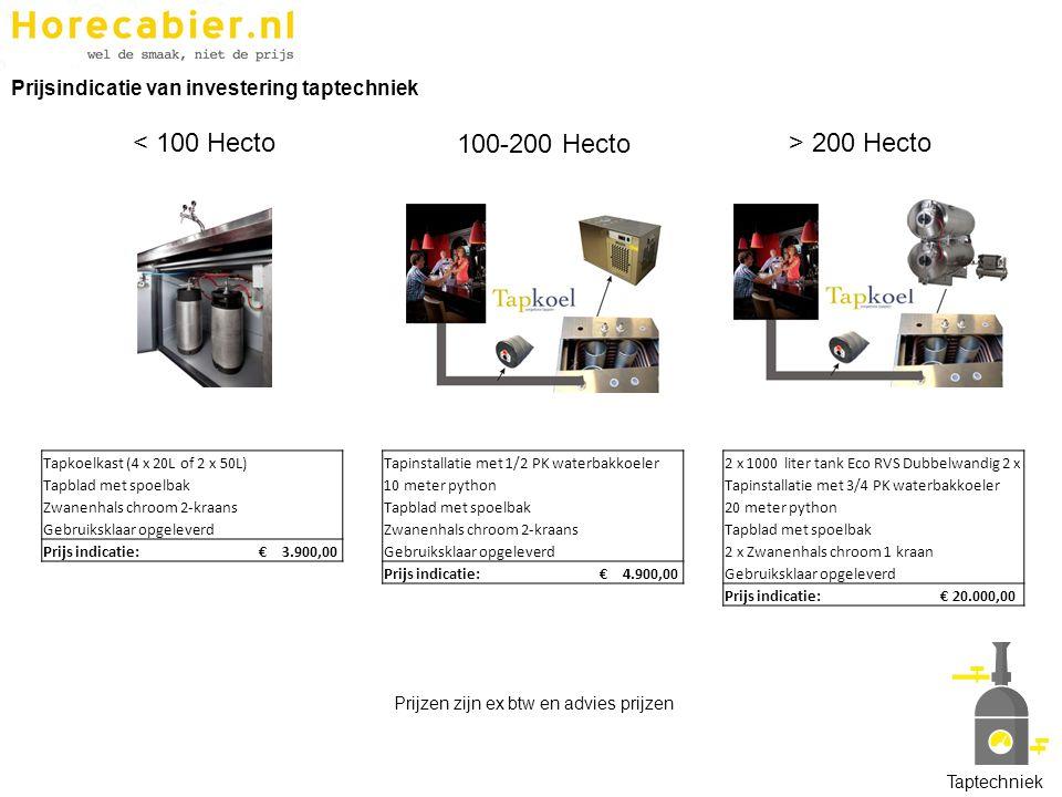 < 100 Hecto 100-200 Hecto > 200 Hecto Tapkoelkast (4 x 20L of 2 x 50L) Tapblad met spoelbak Zwanenhals chroom 2-kraans Gebruiksklaar opgeleverd Prijs