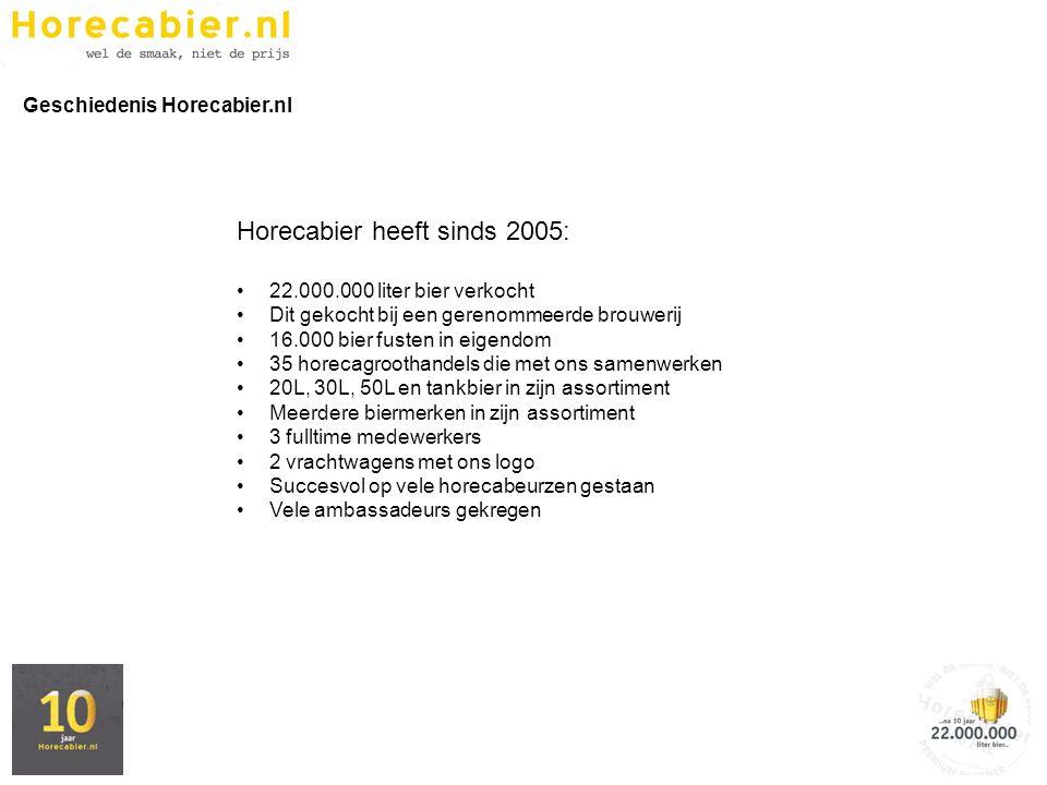 Horecabier heeft sinds 2005: 22.000.000 liter bier verkocht Dit gekocht bij een gerenommeerde brouwerij 16.000 bier fusten in eigendom 35 horecagrooth
