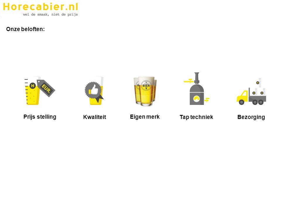 Prijs opbouw Horecabier.nl: Géén contracten met afnemers Horecabier.nl werkt met een laag standaard basis-tarief voor haar bier Groothandels van Horecabier.nl verzorgen 'fijndistributie' tegen minimale vergoeding Extra's zijn in principe mogelijk, maar gaan tegen meerprijs Prijs stelling