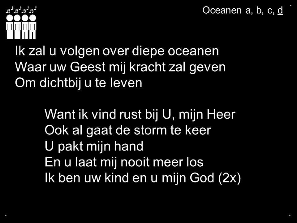 .... Ik zal u volgen over diepe oceanen Waar uw Geest mij kracht zal geven Om dichtbij u te leven Want ik vind rust bij U, mijn Heer Ook al gaat de st