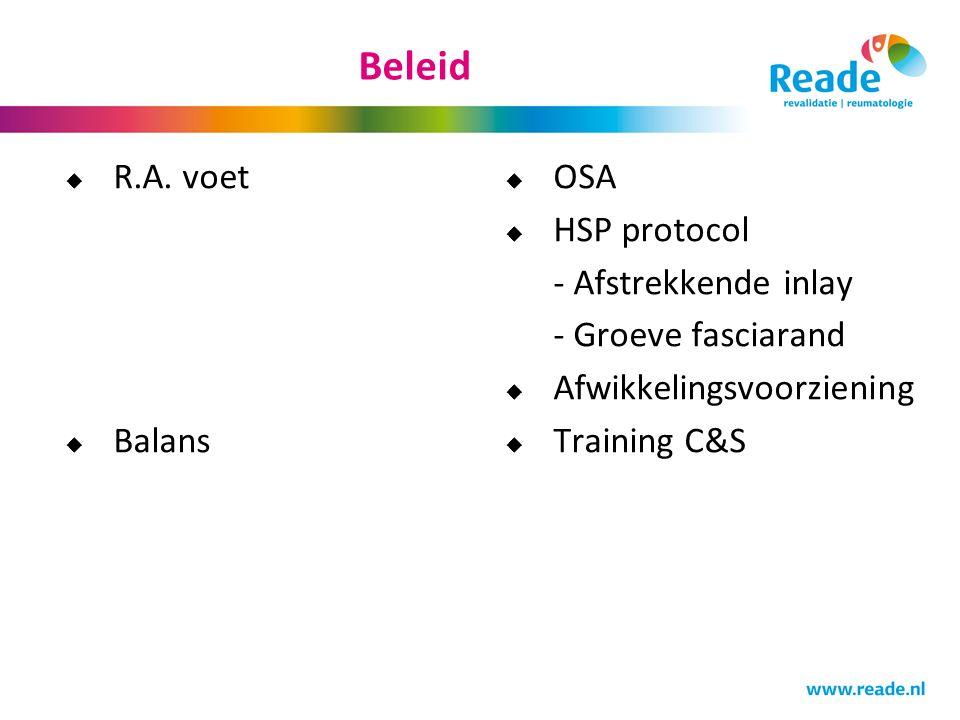 Beleid  R.A. voet  Balans  OSA  HSP protocol - Afstrekkende inlay - Groeve fasciarand  Afwikkelingsvoorziening  Training C&S