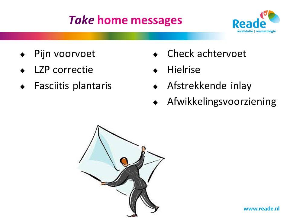 Take home messages  Pijn voorvoet  LZP correctie  Fasciitis plantaris  Check achtervoet  Hielrise  Afstrekkende inlay  Afwikkelingsvoorziening
