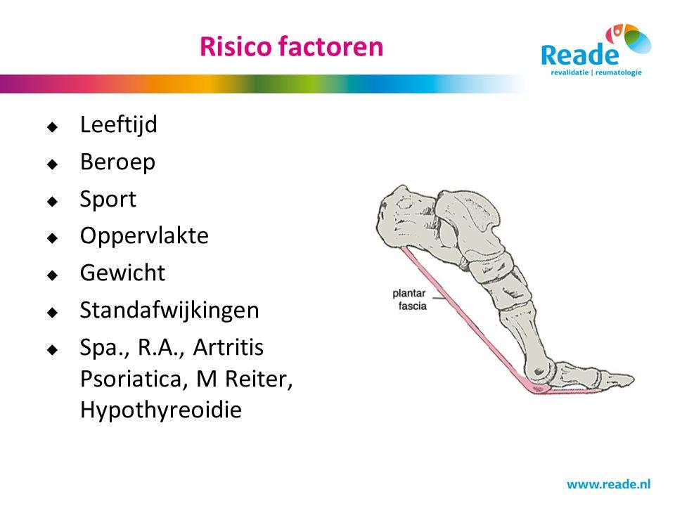 Risico factoren  Leeftijd  Beroep  Sport  Oppervlakte  Gewicht  Standafwijkingen  Spa., R.A., Artritis Psoriatica, M Reiter, Hypothyreoidie
