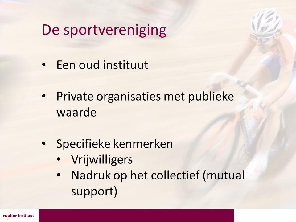 De sportvereniging Een oud instituut Private organisaties met publieke waarde Specifieke kenmerken Vrijwilligers Nadruk op het collectief (mutual support)