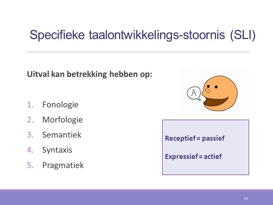 Specifieke taalontwikkelings-stoornis (SLI) Uitval kan betrekking hebben op: 1.Fonologie 2.Morfologie 3.Semantiek 4.Syntaxis 5.Pragmatiek 11 Receptief