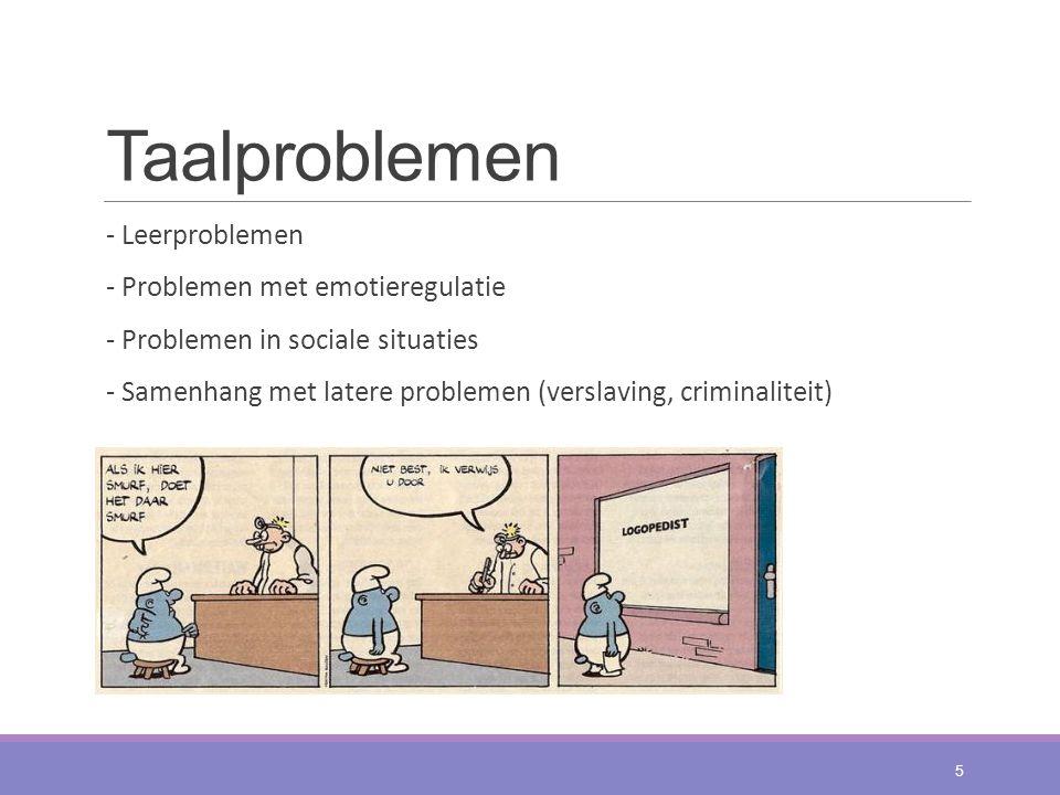 Taalproblemen - Leerproblemen - Problemen met emotieregulatie - Problemen in sociale situaties - Samenhang met latere problemen (verslaving, criminali