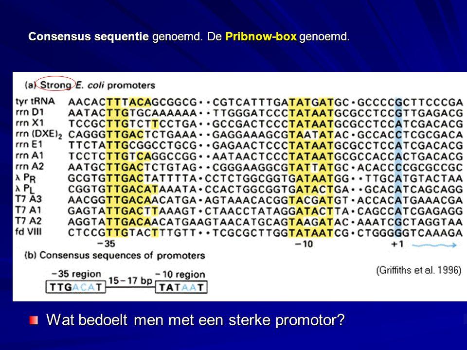 Consensus sequentie genoemd. De Pribnow-box genoemd. Wat bedoelt men met een sterke promotor?