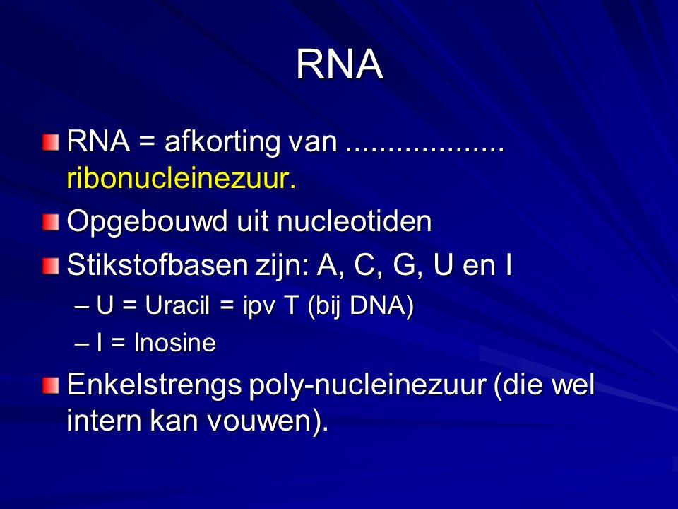 RNA RNA = afkorting van................... ribonucleinezuur. Opgebouwd uit nucleotiden Stikstofbasen zijn: A, C, G, U en I –U = Uracil = ipv T (bij DN
