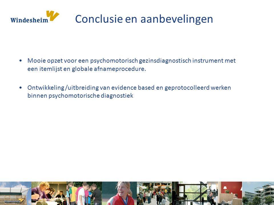 Conclusie en aanbevelingen Mooie opzet voor een psychomotorisch gezinsdiagnostisch instrument met een itemlijst en globale afnameprocedure.