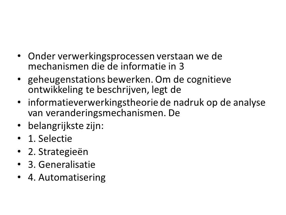 Onder verwerkingsprocessen verstaan we de mechanismen die de informatie in 3 geheugenstations bewerken. Om de cognitieve ontwikkeling te beschrijven,