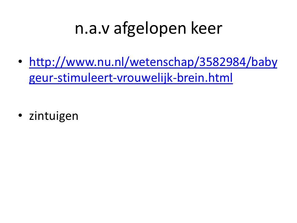 n.a.v afgelopen keer http://www.nu.nl/wetenschap/3582984/baby geur-stimuleert-vrouwelijk-brein.html http://www.nu.nl/wetenschap/3582984/baby geur-stimuleert-vrouwelijk-brein.html zintuigen