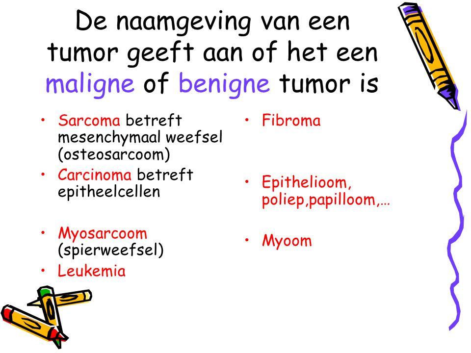 De naamgeving van een tumor geeft aan of het een maligne of benigne tumor is Sarcoma betreft mesenchymaal weefsel (osteosarcoom) Carcinoma betreft epi