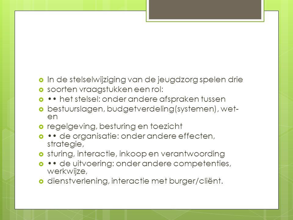  In de stelselwijziging van de jeugdzorg spelen drie  soorten vraagstukken een rol:  het stelsel: onder andere afspraken tussen  bestuurslagen, budgetverdeling(systemen), wet- en  regelgeving, besturing en toezicht  de organisatie: onder andere effecten, strategie,  sturing, interactie, inkoop en verantwoording  de uitvoering: onder andere competenties, werkwijze,  dienstverlening, interactie met burger/cliënt.