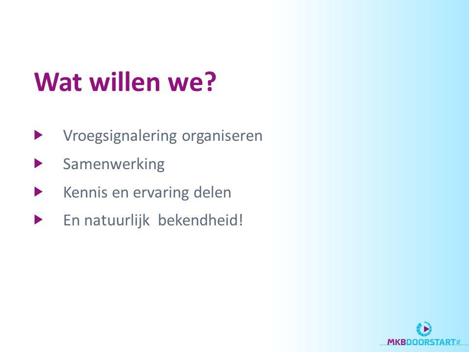 Vroegsignalering organiseren Samenwerking Kennis en ervaring delen En natuurlijk bekendheid! Wat willen we?