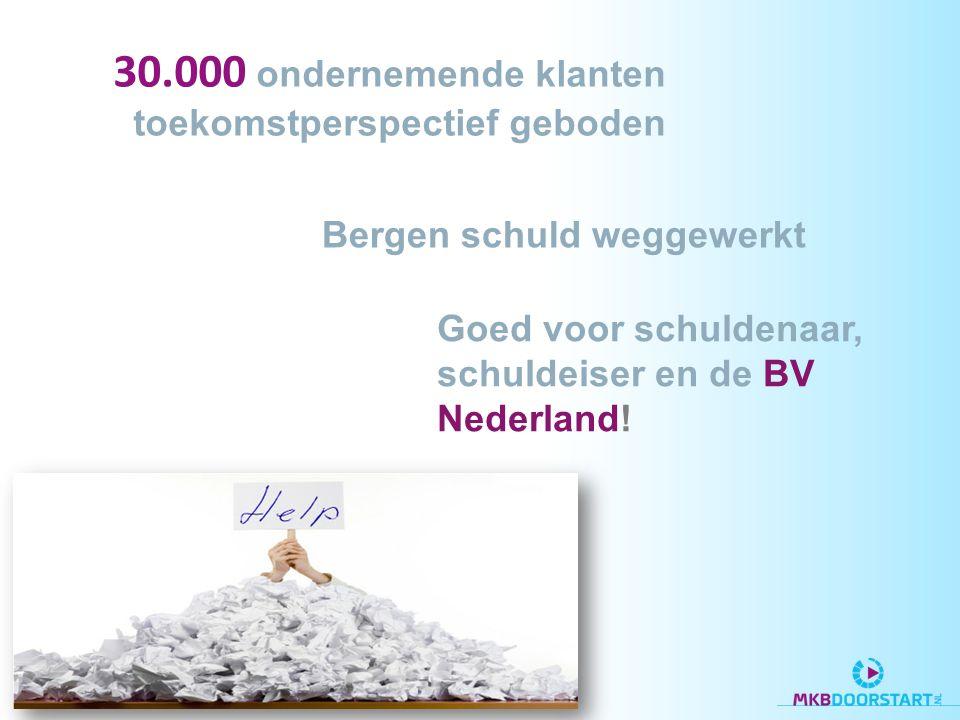 Goed voor schuldenaar, schuldeiser en de BV Nederland! 30.000 ondernemende klanten toekomstperspectief geboden Bergen schuld weggewerkt