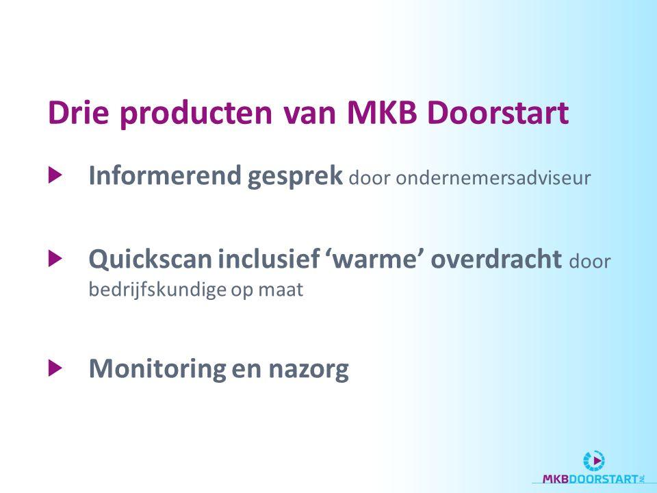 Drie producten van MKB Doorstart Informerend gesprek door ondernemersadviseur Quickscan inclusief 'warme' overdracht door bedrijfskundige op maat Monitoring en nazorg