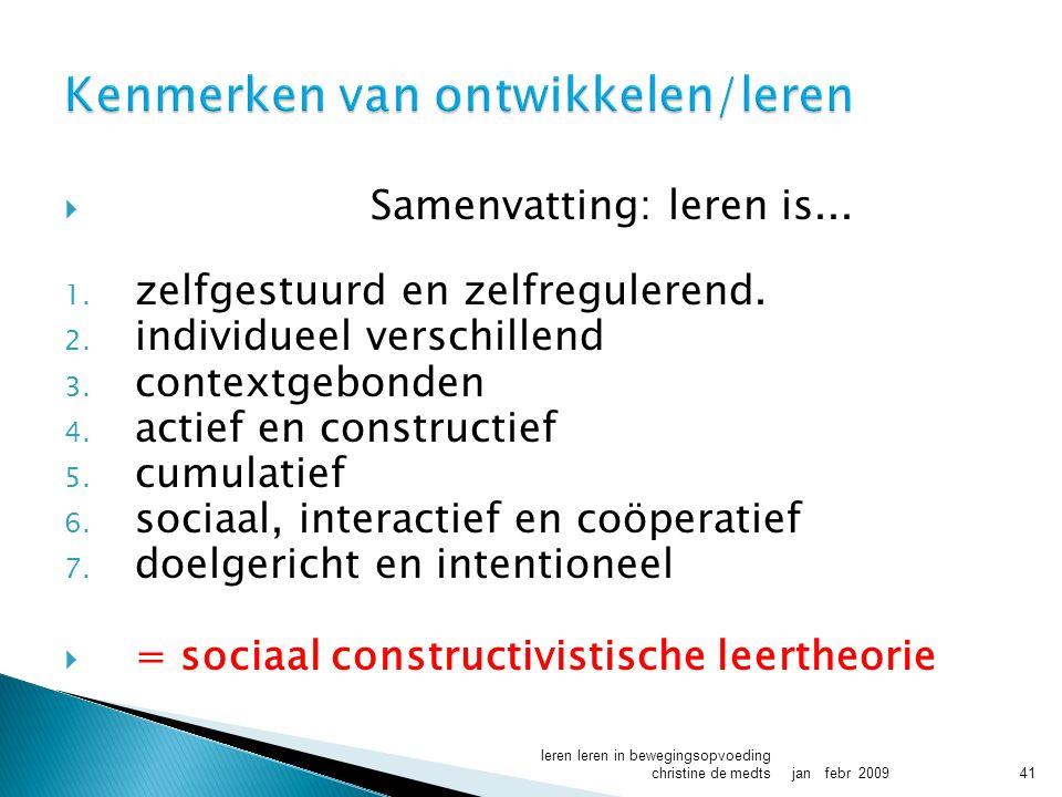  Samenvatting: leren is... 1. zelfgestuurd en zelfregulerend.