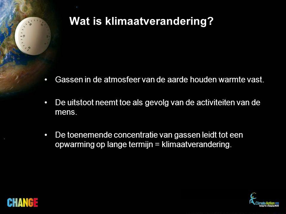 Wat is klimaatverandering? Gassen in de atmosfeer van de aarde houden warmte vast. De uitstoot neemt toe als gevolg van de activiteiten van de mens. D