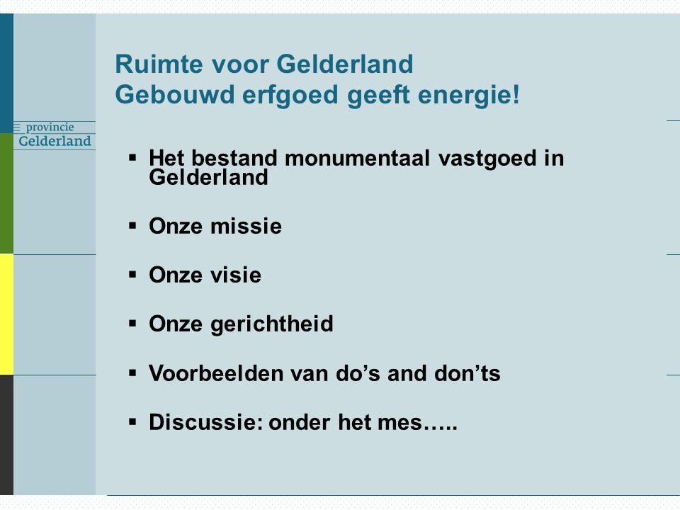 Ruimte voor Gelderland Gebouwd erfgoed geeft energie!  Het bestand monumentaal vastgoed in Gelderland  Onze missie  Onze visie  Onze gerichtheid 