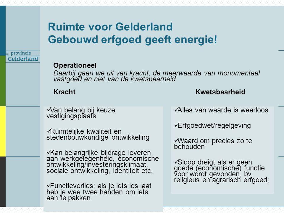 Ruimte voor Gelderland Gebouwd erfgoed geeft energie! Operationeel Daarbij gaan we uit van kracht, de meerwaarde van monumentaal vastgoed en niet van