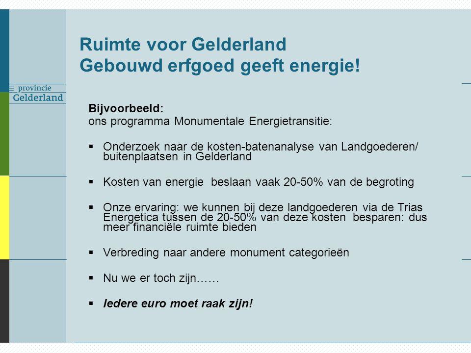 Ruimte voor Gelderland Gebouwd erfgoed geeft energie! Bijvoorbeeld: ons programma Monumentale Energietransitie:  Onderzoek naar de kosten-batenanalys