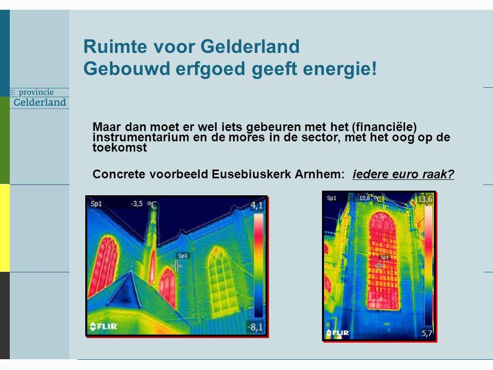 Ruimte voor Gelderland Gebouwd erfgoed geeft energie! Maar dan moet er wel iets gebeuren met het (financiële) instrumentarium en de mores in de sector