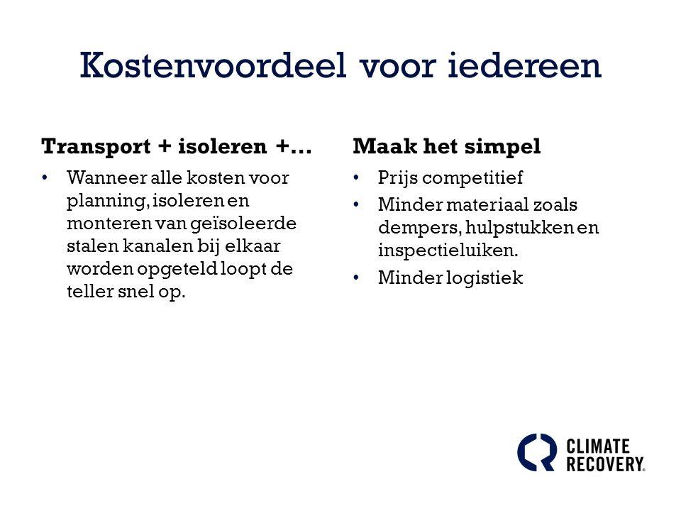 Kostenvoordeel voor iedereen Transport + isoleren +… Wanneer alle kosten voor planning, isoleren en monteren van geïsoleerde stalen kanalen bij elkaar worden opgeteld loopt de teller snel op.
