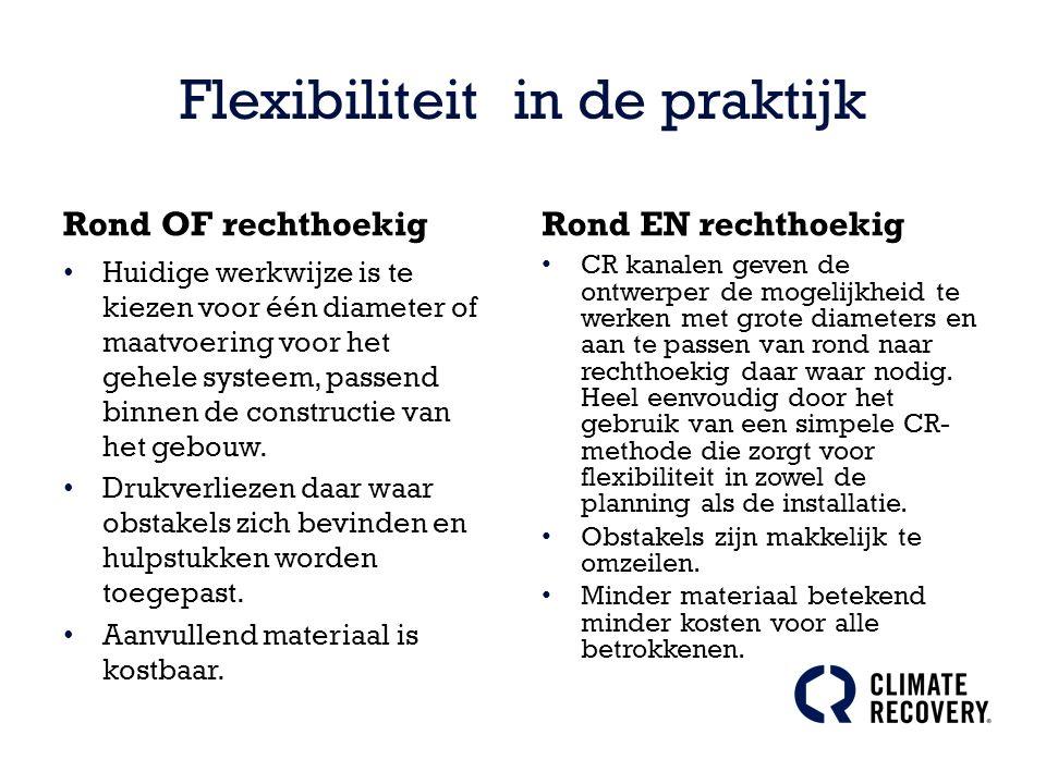 Flexibiliteit in de praktijk Rond OF rechthoekig Huidige werkwijze is te kiezen voor één diameter of maatvoering voor het gehele systeem, passend binnen de constructie van het gebouw.