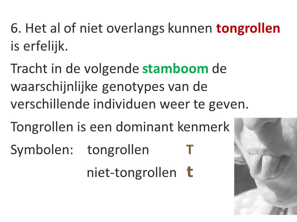6.Het al of niet overlangs kunnen tongrollen is erfelijk.
