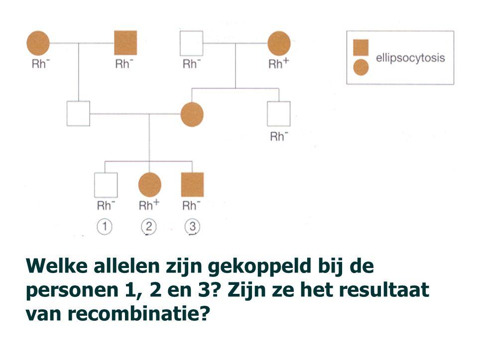 77 Welke allelen zijn gekoppeld bij de personen 1, 2 en 3? Zijn ze het resultaat van recombinatie?