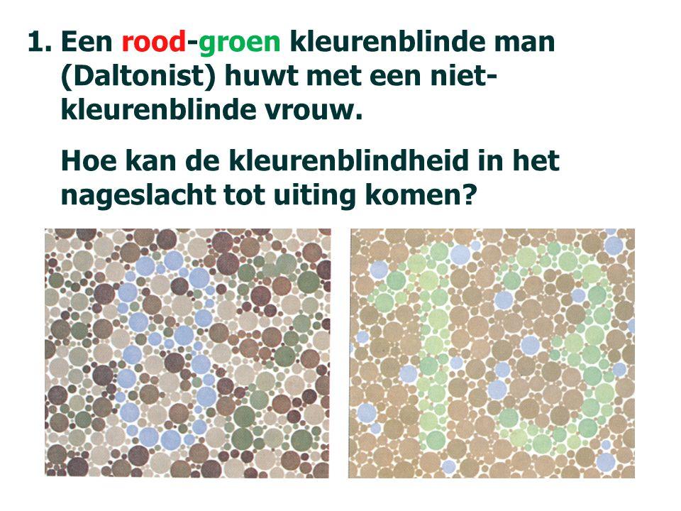 84 1.Een rood-groen kleurenblinde man (Daltonist) huwt met een niet- kleurenblinde vrouw.