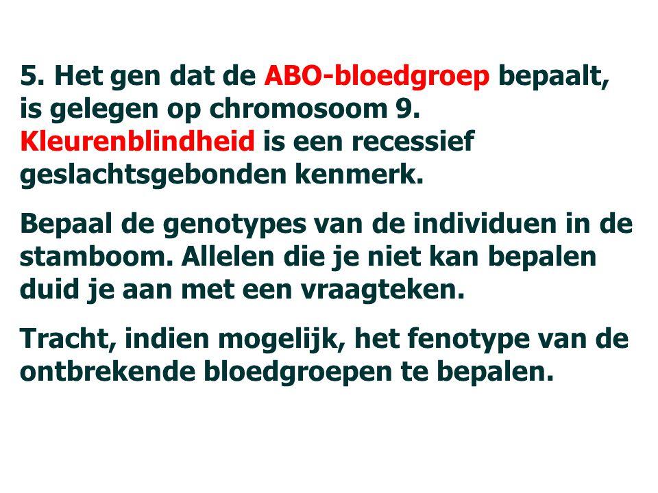 89 5.Het gen dat de ABO-bloedgroep bepaalt, is gelegen op chromosoom 9.